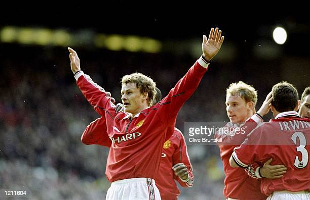 Ole Gunnar Solskjaer celebrates his goal for Manchester United during the FA Carling Premiership match against Liverpool at Old Trafford in...