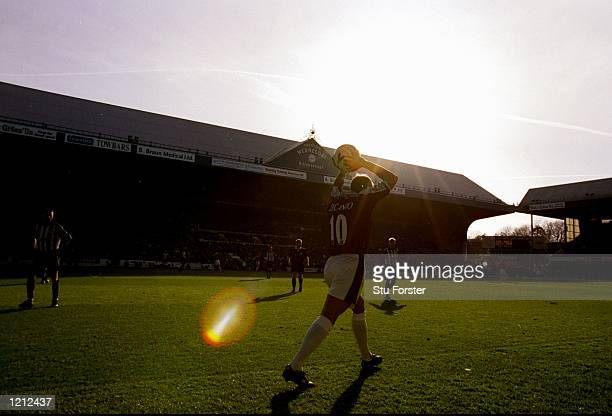 Paolo Di Canio of West Ham United takes a throw in against Sheffield Wednesday during the FA Carling Premiership match at Hillsborough in Sheffield...