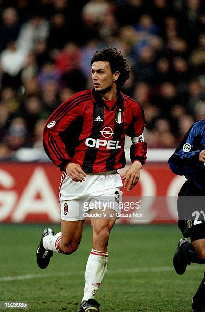 Paolo Maldini of AC Milan in action during the Serie A match against Internazionale at the San Siro in Milan Italy Internazionale won the match 21...