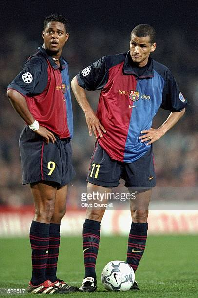 Patrick Kluivert and Rivaldo of Barcelona stand over a freekick during the UEFA Champions League match against Hertha Berlin at the Nou Camp in...