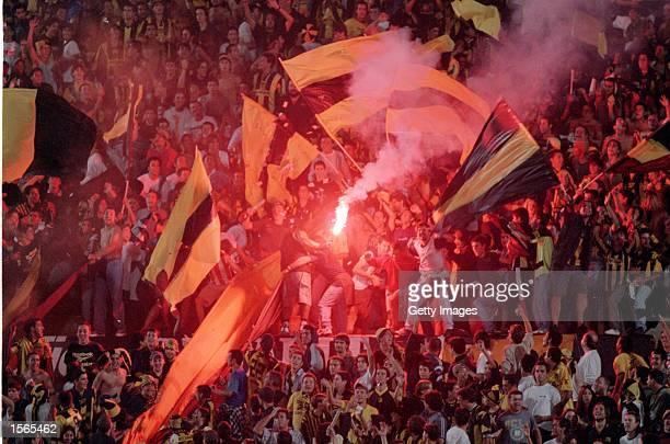 Penarol fans during the Copa Libertadores group 2 match against Boca Juniors in Montevideo Uruguay Mandatory Credit Allsport UK /Allsport
