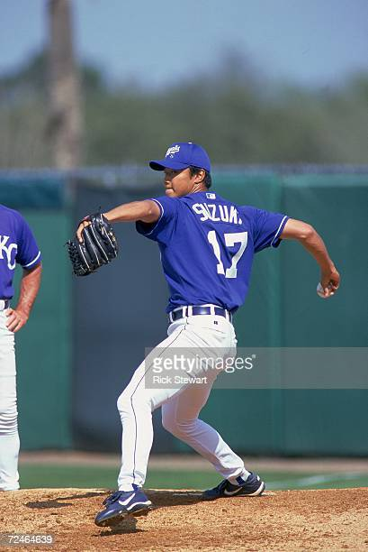 Pitcher Mac Suzuki of the Kansas City Royals winds up for the pitch during the Spring Training Game against the Philadelphia Phillies at Baseball...