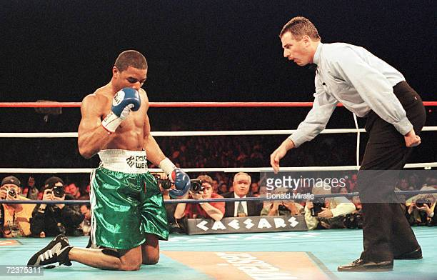 Referee Mitch Halpern gives David Reid an eightcount after being knocked down by Felix Trinidad in the seventh round of their WBA Super Welterwight...