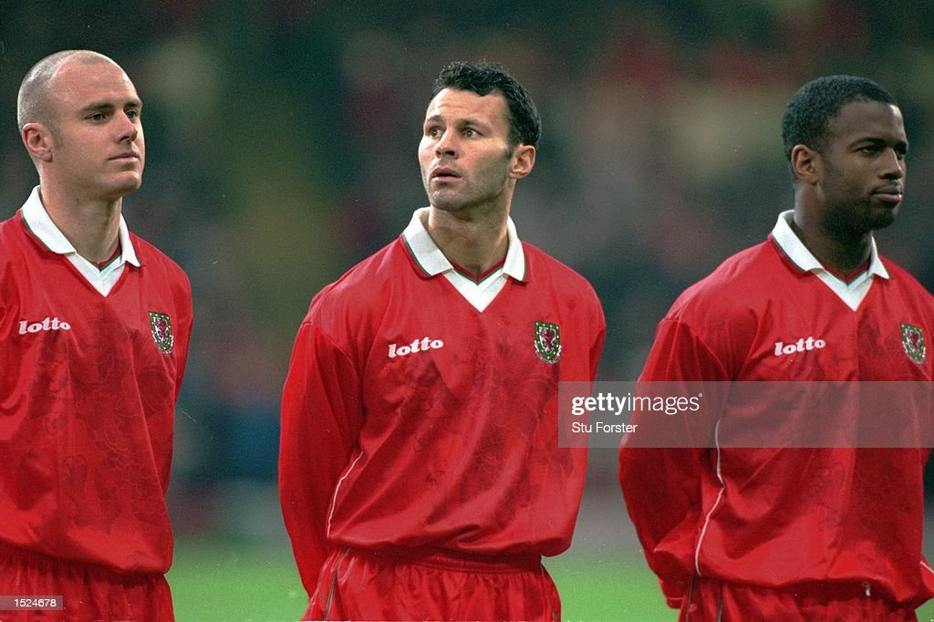 Robert Page, Ryan Giggs and Nathan Blake of Wales line up before the International Friendly match played at the Millennium Stadium in Cardiff, Wales. Finland won the game 2-1. \ Mandatory Credit: Stu Forster /Allsport