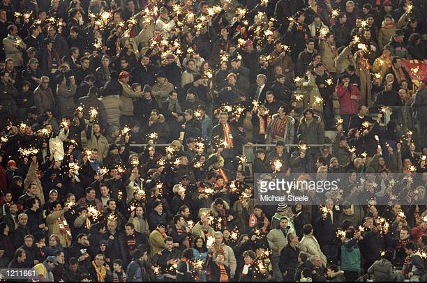 Roma fans during the UEFA Cup fourth round first leg match against Leeds United at the Stadio Olimpico in Rome, Italy. The game ended goalless. \...