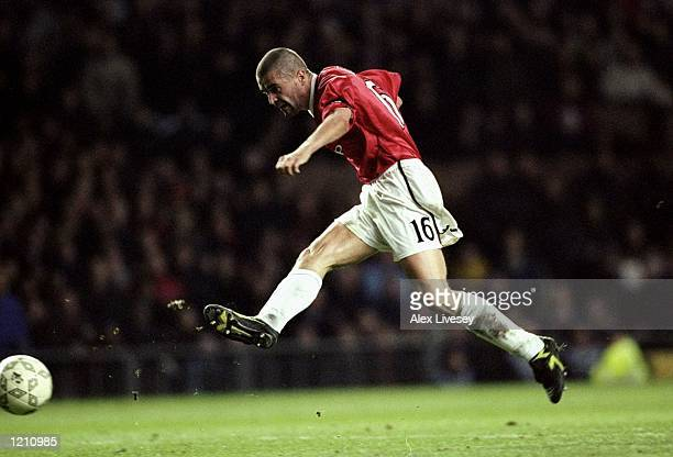 Roy Keane of Manchester United in action against Bordeaux during the UEFA Champions League group B match at Old Trafford in Manchester England United...