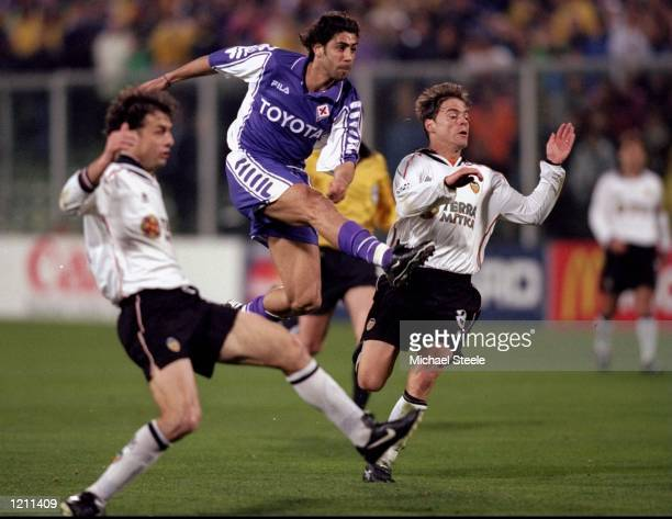 Rui Costa of Fiorentina shoots against Valencia during the UEFA Champions League group B match at the Artemio Franchi Stadium in Florence Italy...