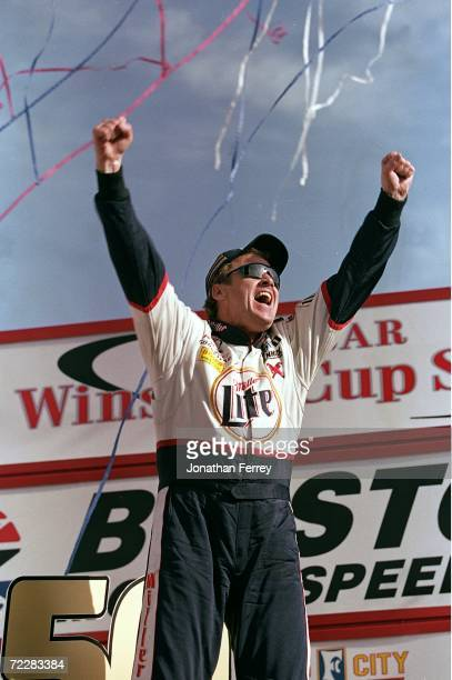Rusty Wallace celebrates after winning the Food City 500 Part of the NASCAR Winston Cup Series at the Bristol Motor Speedway in Bristol Tennessee...
