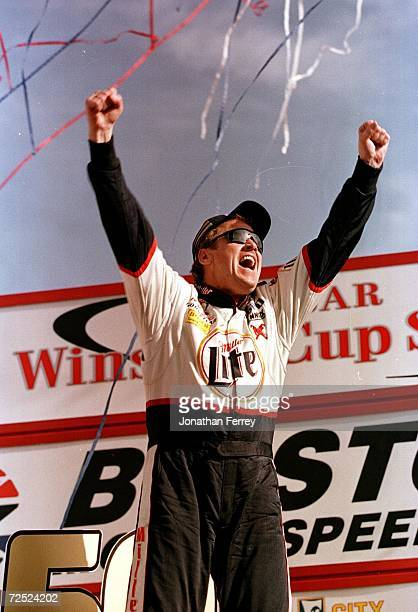 Rusty Wallace celebrates his victory in the Food City 500 at Bristol Motor Speedway in Bristol Tennessee