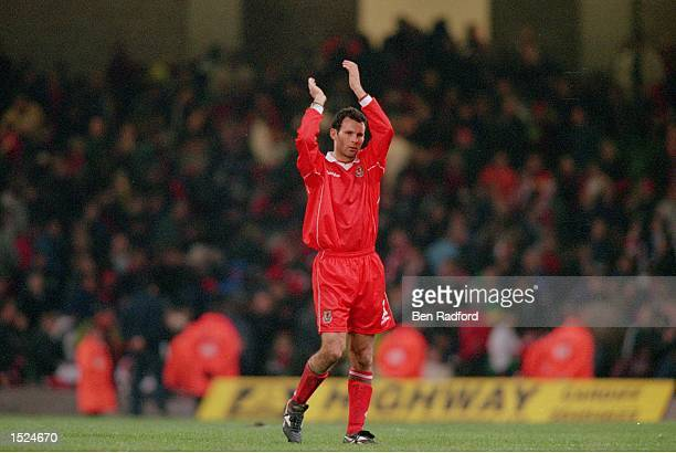 Ryan Giggs of Wales salutes the crowd following the International Friendly match against Finland played at the Millennium Stadium in Cardiff Wales...