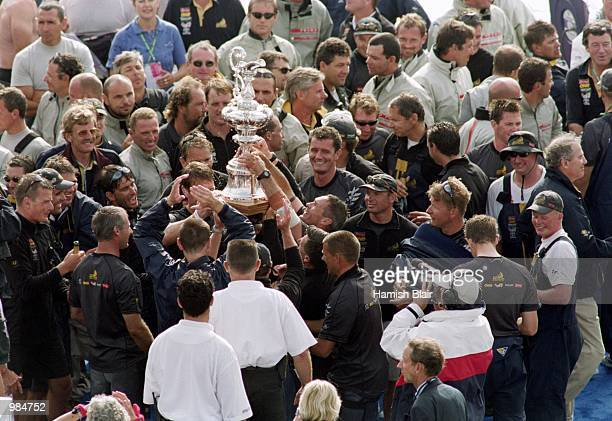 The New Zealand team onboard ''Black Magic'' celebrate their win during the 2000 Americas Cup held in Auckland New Zealand Mandatory Credit Hamish...