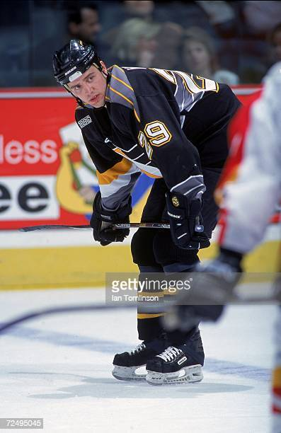 Tyler Wright of the Pittsburgh Penguins skates on the ice during a game against the Calgary Flames at the Canadian Airlines SaddleDome in Calgary...