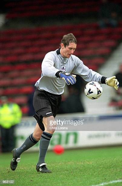 Alan Fettis of York City kicks the ball out during the Nationwide League Division Three match against Leyton Orient played at Brisbane Road in London...