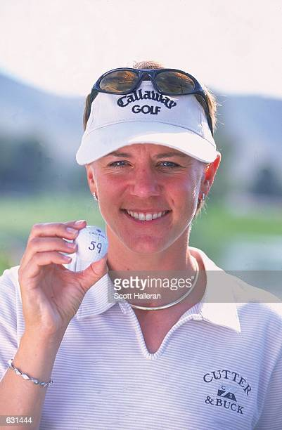 Annika Sorenstam poses with her ball after shooting a record breaking 59 during the second round of the Standard Register LPGA at the Moon Valley...