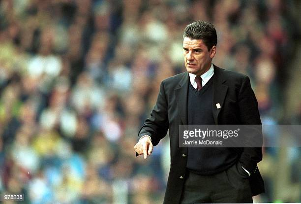 Aston Villa manager John Gregory during the FA Carling Premiership match between Manchester City v Aston Villa at Maine Road Manchester Mandatory...