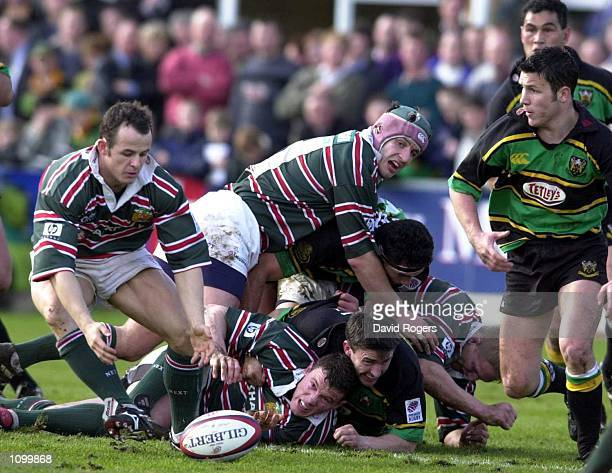 Austin Healey of Leicester attempts to pick up the loose ball during the Zurich Premiership match between Northampton Saints v Leicester Tigers at...