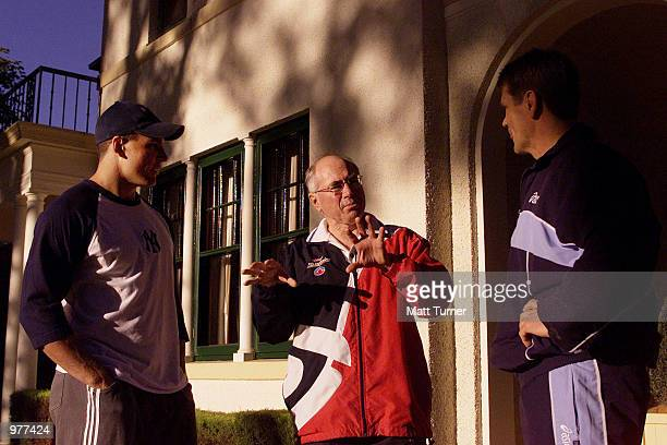 Australian Prime Minister John Howard at the Lodge after his morning walk with former NRL Player Wayne Pearce and current player Trent Barrett in...