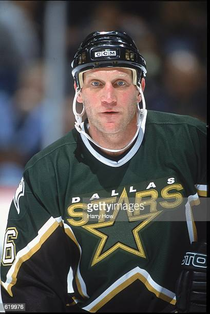 Brett Hull of the Dallas Stars looks on during the game against the Anaheim Mighty Ducks at the Arrowhead Pond in Anaheim California The Stars...