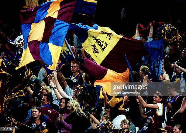 Brisbane Fans Celebrate after Brisbane won the Ansett Cup Semi Final between the Hawthorn Hawkes and Brisbane Lions at Colonial Stadium in Melbourne...