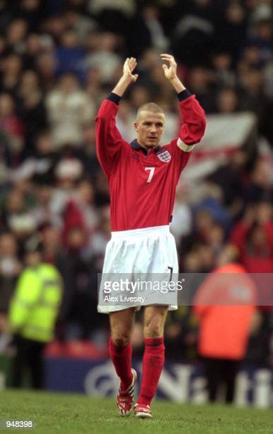 Captain David Beckham of England applauds the fans after the World Cup 2002 Group 9 Qualifying match against Finland played at Anfield in Liverpool...