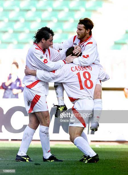 Cassano of Bari celebrating after scoring a goal during the Serie A 21st Round League match between Bari and Juventus, played at the San Nicola...