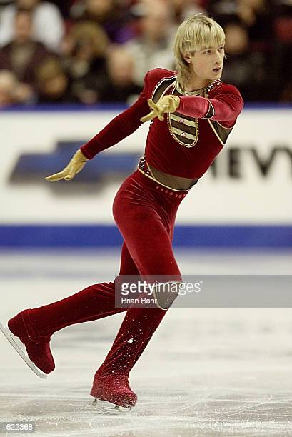 Evgeni Plushenko of Russia moves down the ice during the short program of the men's competition at the 2001 World Figure Skating Championships at the...