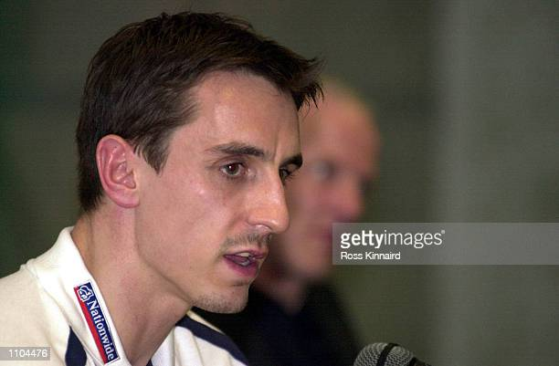 Gary Neville of England during the England press conference in Tirana, Albania. Digital Image. Mandatory Credit: Ross Kinnaird/ALLSPORT