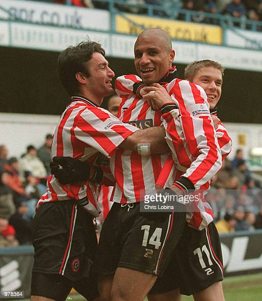 George Santos of Sheffield United celebrates scoring the first goal during the Nationwide First Division match between Queens Park Rangers and...