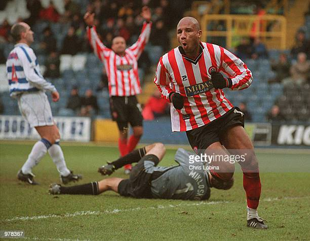 George Santos of Sheffield United celebrates scoring the second goal during the Nationwide First Division match between Queens Park Rangers and...