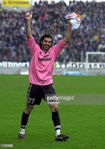 Gigi Buffon the Goalkeeper of Parma celebrate during the Serie A 23rd Round League match between Udinese and Parma played at the Friuli Stadium Udine...