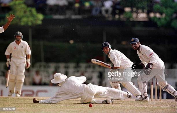 Graham Thorpe of England past the slips to the boundry for 4 runs on the fourth day of the 2nd Test between Sri Lanka and England at the Asgiriya...