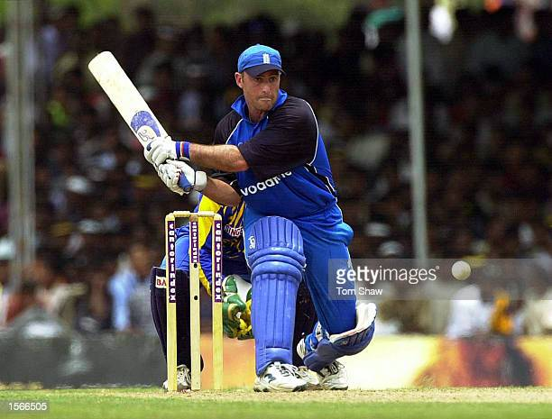 Graham Thorpe of England prepares to reverse sweep the ball during his 62 not out during the first Sri Lanka v England One Day International match at...