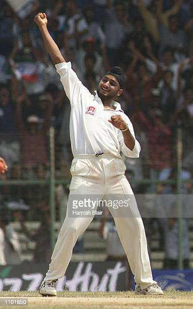Harbhajan Singh of India celebrates after taking the wicket of Colin Miller of Australia during day five of the third test between India and...