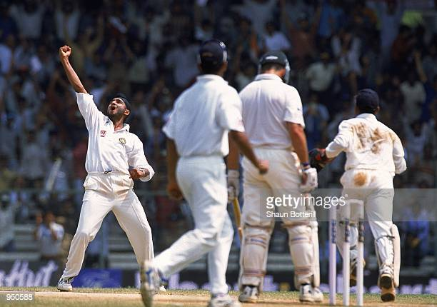 Harbhajan Singh of India celebrates after trapping Colin Miller of Australia for an lbw decision during the Third Test match played at the...