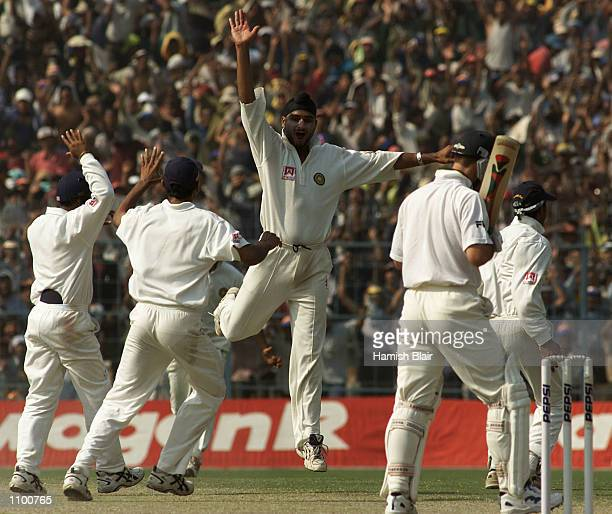 Harbhajan Singh of India claims the wicket of Ricky Ponting of Australia during day five of the 2nd Test between India and Australia played at Eden...