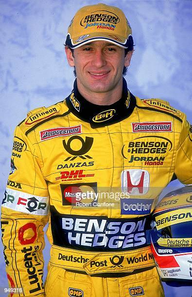 Headshot of JordanHonda driver Jarno Trulli of Italy during the Australian Formula One Grand Prix held at Albert Park in Melbourne Australia...