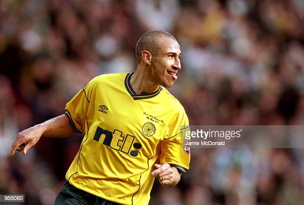 Henrik Larsson of Celtic celebrates another goal during the Scottish CIS Insurance Cup Final match against Kilmarnock played at Hampden Park in...