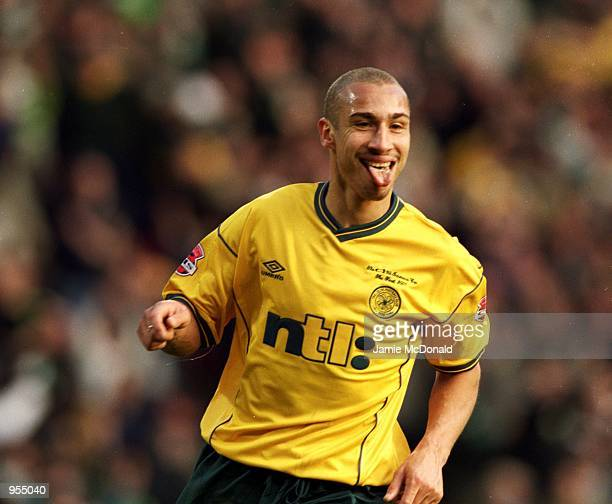 Henrik Larsson of Celtic celebrates another goal in an amazing season during the Scottish CIS Insurance Cup Final match against Kilmarnock played at...