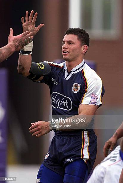 Henry Paul of Bradford celebrates scoring a try during the Silk Cut Challenge Cup quarter final match between Wakefield Wildcats and Bradford Bulls...