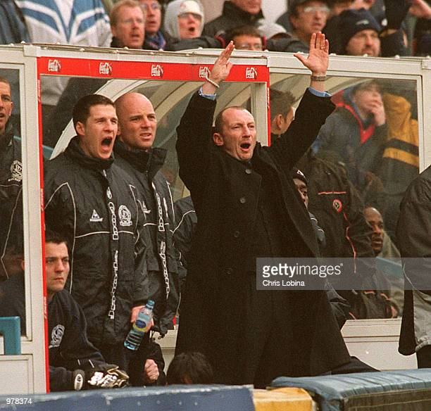 Ian Holloway the Queens Park Rangers manager celebrates a goal during the Nationwide First Division match between Queens Park Rangers and Sheffield...