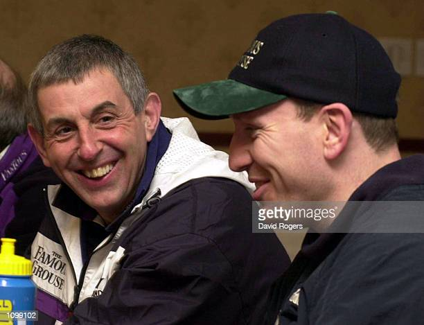 Ian McGeechan the Scotland coach shares a joke with his captain Andy Nicol during a press conference at the Scotland team headquarters at Weybridge...