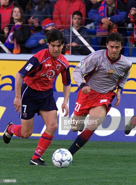 Inaki of Numancia and Luis Enrique of Barcelona in action during the Primera Liga match between Numancia and Barcelona at the Los Pajaritos stadium....