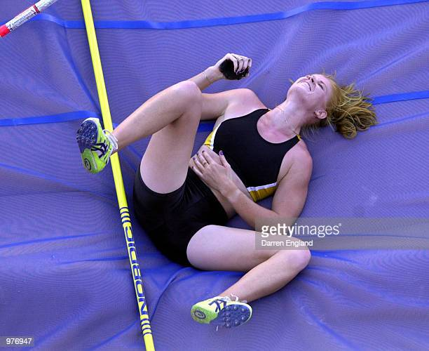 Jenni Dryburgh of Australia shows her dissapointment after being knocked out of the women's Pole Vault final at the Australian Track and Field...