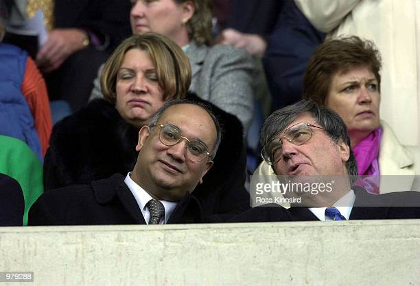 Keith Vaz and the Leicester Chairman John Elsom look on during the match between Leicester City and Wycombe Wanderers in the FA Cup Sixth Round at...