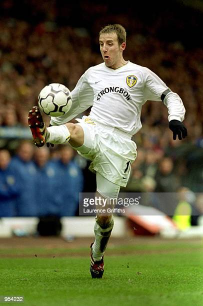 Lee Bowyer of Leeds United in action during the FA Carling Premiership match against Manchester United at Elland Road in Leeds England The game ended...
