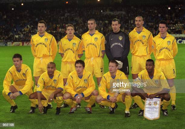 Leeds United line up for the UEFA Champions Legaue Group D match against Real Madrid at the Santiago Bernabeu in Madrid Spain Mandatory Credit Alex...