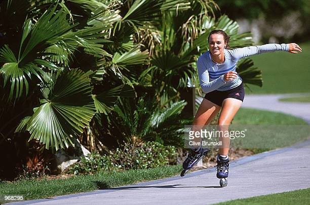 Martina Hingis of Switzerland relaxes by doing some rollerblading during a Feature held in Florida Mandatory Credit Clive Brunskill /Allsport