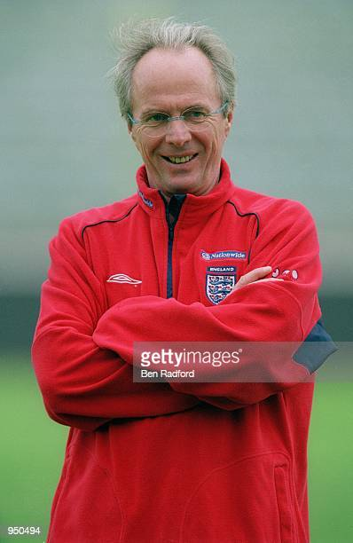 Portrait of England coach Sven Goran Eriksson during an England training session held before the World Cup 2002 Group Nine Qualifying match against...