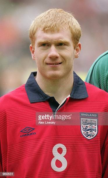 Portrait of Paul Scholes of England before the World Cup 2002 Group Nine Qualifying match against Finland played at Anfield in Liverpool England...
