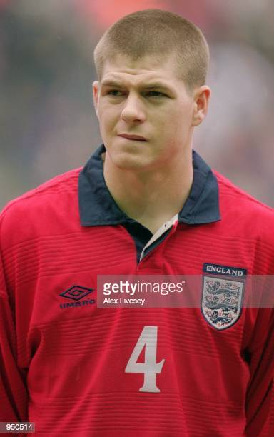 Portrait of Steven Gerrard of England before the World Cup 2002 Group Nine Qualifying match against Finland played at Anfield in Liverpool England...